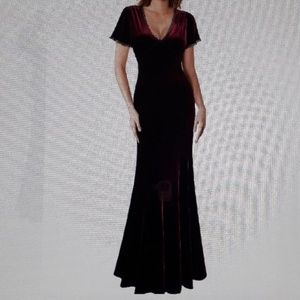 NWT Miusol Women's V neck long maxi velvet Dress